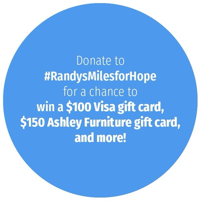 🚴 SPECIAL ANNOUNCEMENT - CONTEST UPDATE AHEAD 🚴 Good morning!As promised I am working hard to increase my fundraising incentives for all of my ride supporters. This week I'm more than doubling the prize value by adding a $150 Ashley Furniture Gift Card to the pot.  So, just to reiterate, each $10 donation from now until the end of July enters you to win a $100 Visa Gift Card and a $150 Ashley Furniture Gift Card, all for lending your tax-deductible support to the American Cancer Society's Hope Lodges, Research and Awareness.  A winner will be selected at the end of the big ride across Ohio on July 30th.  Please donate at the following link -- you can easily donate using check, credit card or PayPal:http://main.acsevents.org/goto/rhammonsThis contest is operating in addition to my ongoing campaign where I pledge training miles for dollar amounts donated by you awesome folks. So, if you want me to ride miles in your name or the name of a loved one just leave a private note at the time of your donation and I'll ensure that name will be carried along all 328 miles of the American Cancer Society's Pan Ohio Hope Ride. Check my donor profile for details!Please feel free to share this post with your friends, family, and colleagues! As always, I sincerely thank you for all of your heart and support!#randysmilesforhope #pohr17 #randyspohr #pohr #contest #charity #cancersucks #fundraising - from Instagram