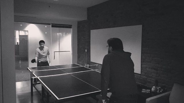 Friday afternoon table tennis showdown at the office. - from Instagram