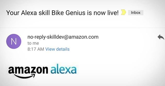 Bike Genius made it into the @amazon__usa Alexa Skills Library. If you're a bike geek give it a look. Google Assistant is coming up very very soon. It's just waiting for approval. #bikegenius #alexaskills - from Instagram