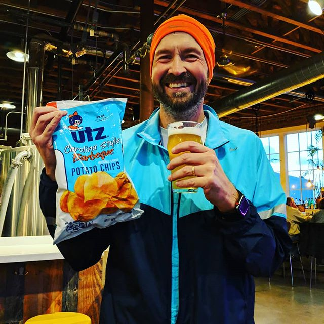 @cle_dave rejoicing in his bounty of Utz Carolina BBQ chips. - from Instagram